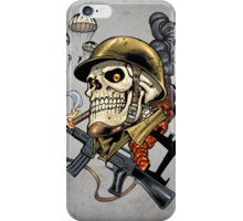 Airborne, Military Skull Smoking a fat Cigar while Bombs are Falling iPhone Case/Skin