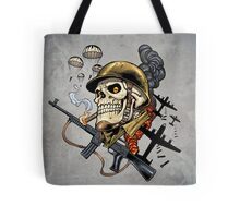 Airborne, Military Skull Smoking a fat Cigar while Bombs are Falling Tote Bag