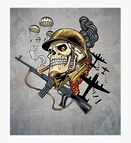 Airborne, Military Skull Smoking a fat Cigar while Bombs are Falling Photographic Print