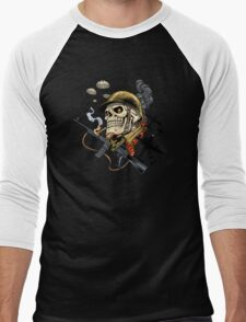 Airborne, Military Skull Smoking a fat Cigar while Bombs are Falling Men's Baseball ¾ T-Shirt