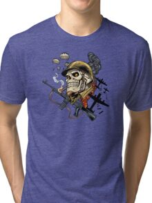 Airborne, Military Skull Smoking a fat Cigar while Bombs are Falling Tri-blend T-Shirt