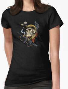 Airborne, Military Skull Smoking a fat Cigar while Bombs are Falling Womens Fitted T-Shirt