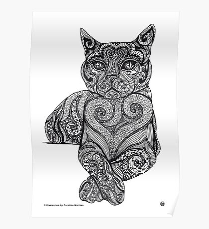 Zentangle Cat Poster