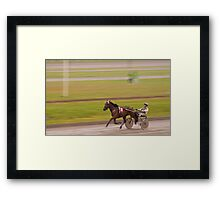 At the trotting course Framed Print