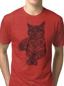 Zentangle Cat Tri-blend T-Shirt