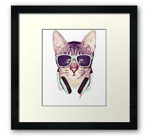 Funny Music Cool Cat Framed Print