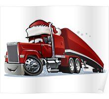 Cartoon Christmas Truck Poster