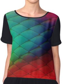 Colorful geometric background with geometric elements. Blurred gradient mosaic pattern Chiffon Top