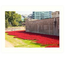 Ceramic poppies at the Tower of London Art Print