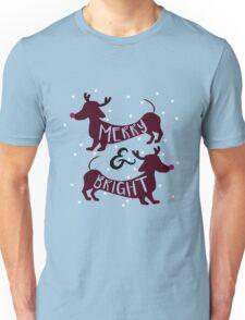 Merry & Bright (Dachshund Sausage Dog) Unisex T-Shirt