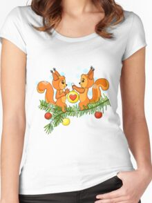 Christmas cute squirrel and christmas tree. Women's Fitted Scoop T-Shirt