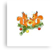 Christmas cute squirrel and christmas tree. Canvas Print