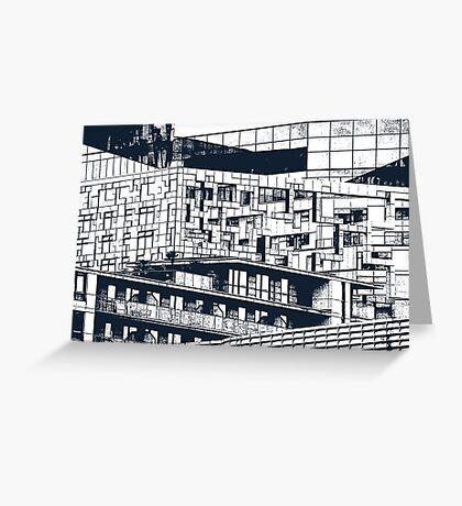 The Cube, Birmingham city centre UK architecture, digitally edited Greeting Card