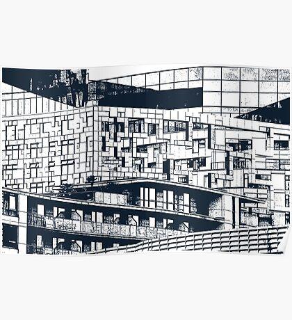 The Cube, Birmingham city centre UK architecture, digitally edited Poster