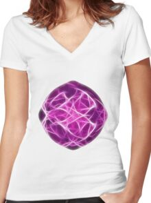 Abstract fractal shape with soft lines Women's Fitted V-Neck T-Shirt