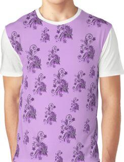 Purple, pink, violet flowers, ornament, asymetric floral design Graphic T-Shirt