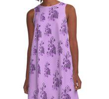 Purple, pink, violet flowers, ornament, asymetric floral design A-Line Dress