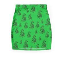 Green on green, flowers, ornament, asymetric floral design Mini Skirt