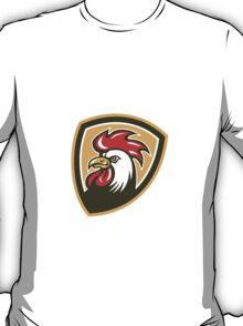 Chicken Rooster Head Mascot Shield Retro T-Shirt