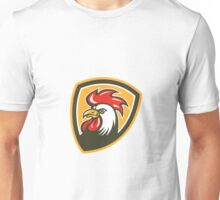 Chicken Rooster Head Mascot Shield Retro Unisex T-Shirt