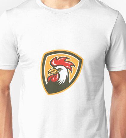 Chicken Rooster Head Mascot Shield Retro Unisex T-Shirt