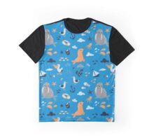 Sea Shore Life Pattern Graphic T-Shirt