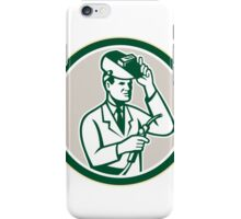 Scientist Lab Researcher Welder Circle Retro iPhone Case/Skin