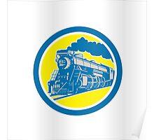 Steam Train Locomotive Circle Retro Poster