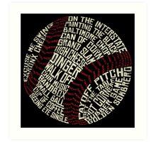 Baseball Slang Words Calligram Art Print