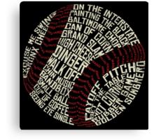 Baseball Slang Words Calligram Canvas Print