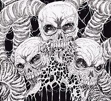 Black And White Skulls Art by waynetully