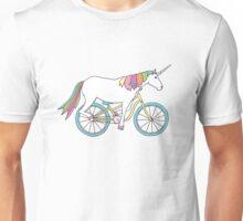 Unicorn Riding a Bicycle Unisex T-Shirt