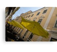 Vienna Street Life - Cheery Yellow Umbrellas at an Outdoor Cafe Canvas Print