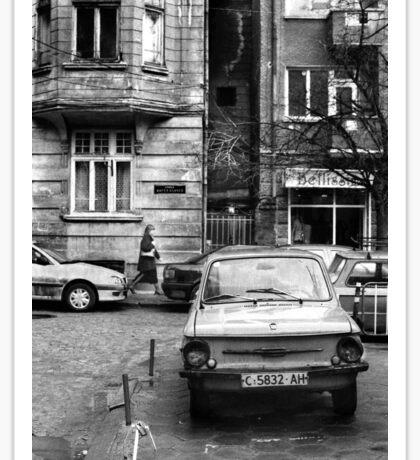 Quiet Streetscape In Sofia From Last Century Sticker