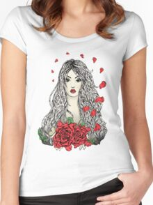 Flying rose petals Women's Fitted Scoop T-Shirt