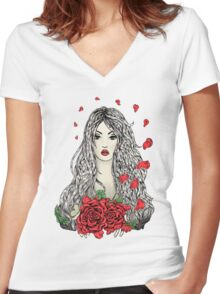Flying rose petals Women's Fitted V-Neck T-Shirt