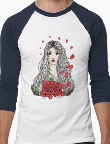 Flying rose petals Men's Baseball ¾ T-Shirt