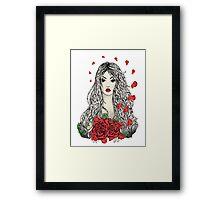 Flying rose petals Framed Print