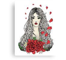 Flying rose petals Canvas Print