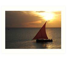 Red Sails in the Zanzibar Sunset, Tanzania Art Print