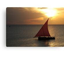 Red Sails in the Zanzibar Sunset, Tanzania Canvas Print