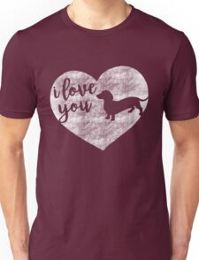 I Love You (Dachshund Silhouette) Unisex T-Shirt