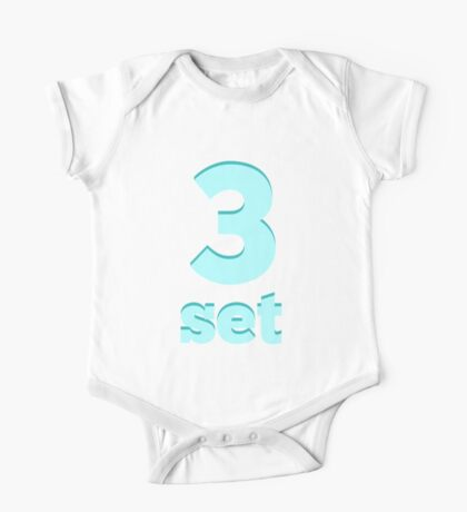 Baby learns Korean - number three blue One Piece - Short Sleeve