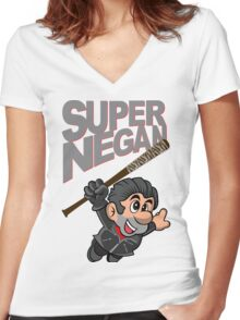 SUPER NEGAN Women's Fitted V-Neck T-Shirt