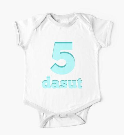 Baby learns Korean - number five blue One Piece - Short Sleeve