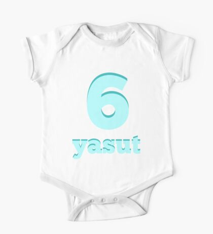Baby learns Korean - number six blue One Piece - Short Sleeve