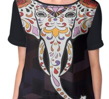 Elephant Sugar Skull Chiffon Top