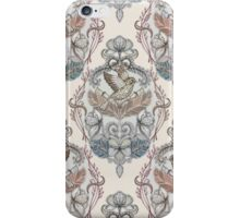 Woodland Birds - hand drawn vintage illustration pattern in neutral colors iPhone Case/Skin