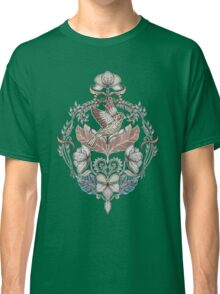 Woodland Birds - hand drawn vintage illustration pattern in neutral colors Classic T-Shirt