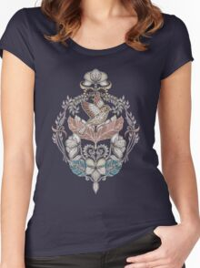 Woodland Birds - hand drawn vintage illustration pattern in neutral colors Women's Fitted Scoop T-Shirt